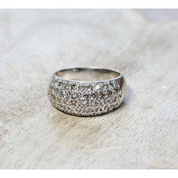 Bague en Or Blanc Pavage Diamants