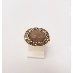 Bague en Or jaune 18k avec Quartz et Diamants cognac et blanc