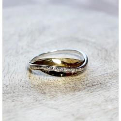 Bague 2 Ors avec pavage diamants