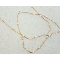 Sautoir en or jaune avec perles de cultures