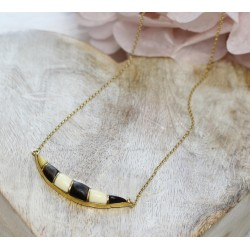 Collier en Or jaune Imitation Ivoire