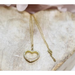 Collier Coeur en Or jaune avec Diamants