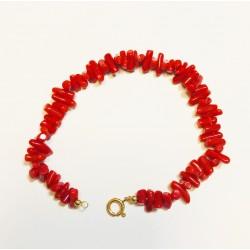 Bracelet en Or jaune avec Corail Rouge