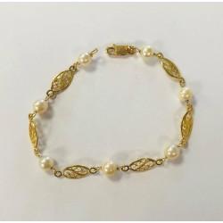 Bracelet Maille filigrane avec perles