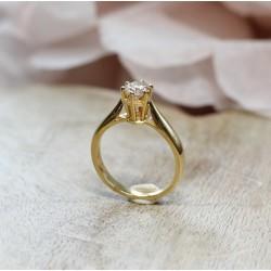 Solitaire en Or jaune avec diamant de 0,50ct