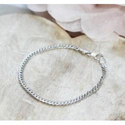 Bracelet maille Plate en Or blanc