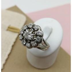 Bague ancienne or blanc platine et diamants