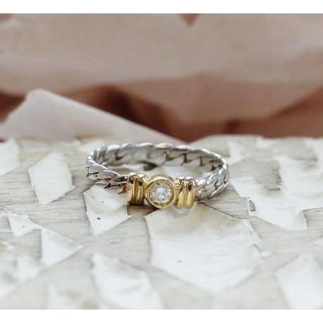 Bague 2 Ors avec diamant central