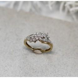 Bague 2 Ors avec éclats de diamants