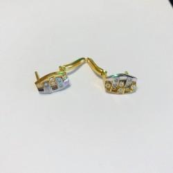 Boucles d'oreille en Or jaune et blanc avec Oxyde