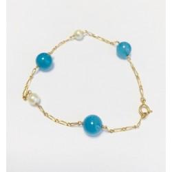 Bracelet en Or jaune avec Perles bleus et blanches