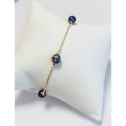 Bracelet en Or jaune avec Perles bleues avec fleurs