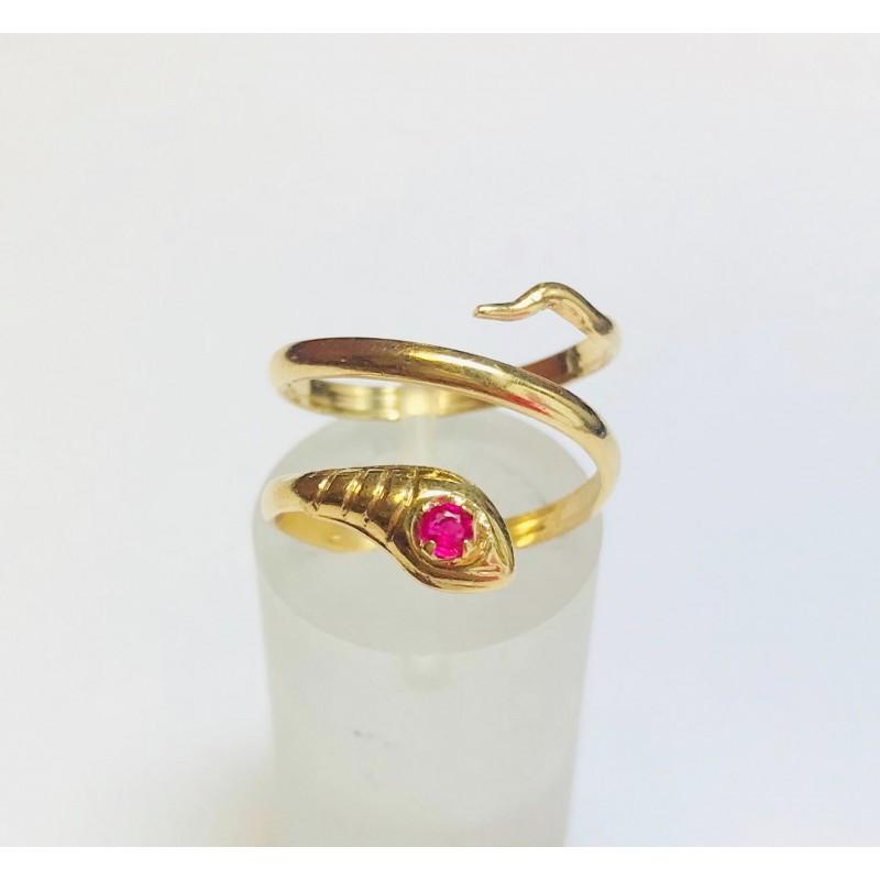 bague serpent en or jaune avec pierre rose. Black Bedroom Furniture Sets. Home Design Ideas