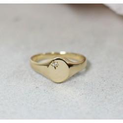 Bague Chevalière en Or jaune 18k avec diamant