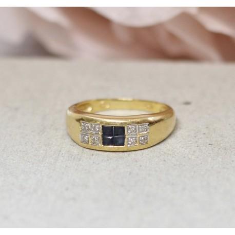 Bague en Or jaune avec Saphir et diamants