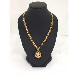 Collier en or jaune chaine + pendentif Boule