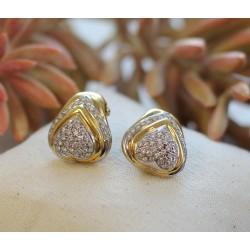 Boucles d'oreille coeur 2 ors et Diamants