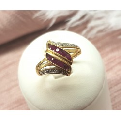 Bague or jaune Rubis et Diamants