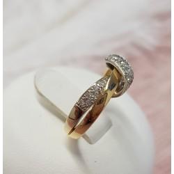 Bague en or jaune et éclats de diamants