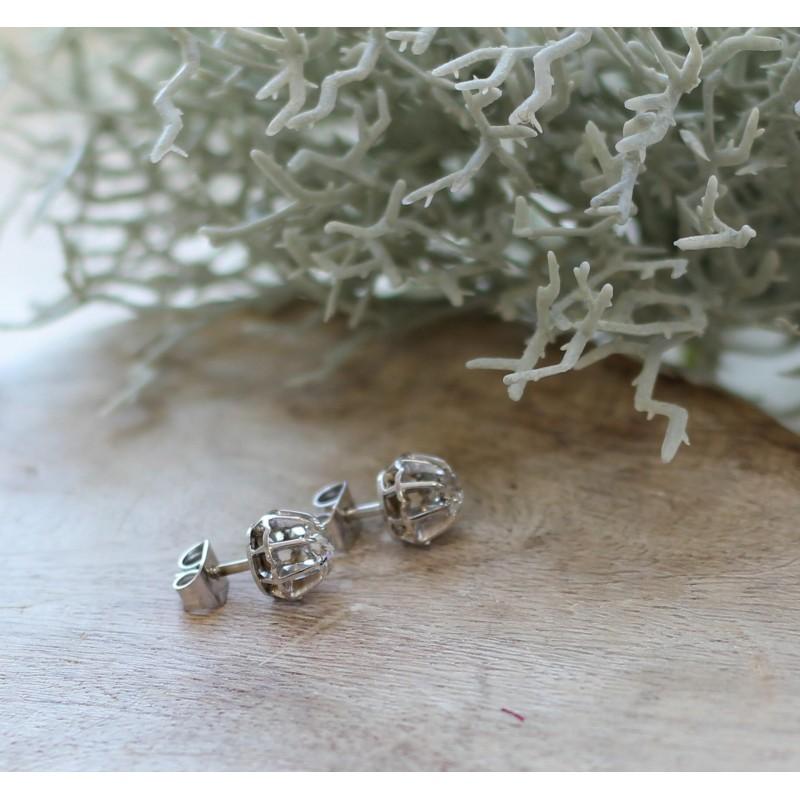 Boucles d 39 oreille en platine et diamants de - Poussette de boucle d oreille ...