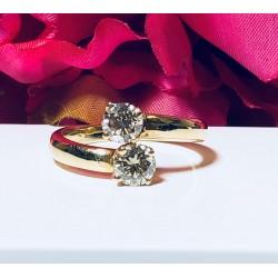 Bague Toi et Moi en or jaune et diamants