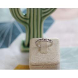 Alliance Or blanc diamants rond et baguette
