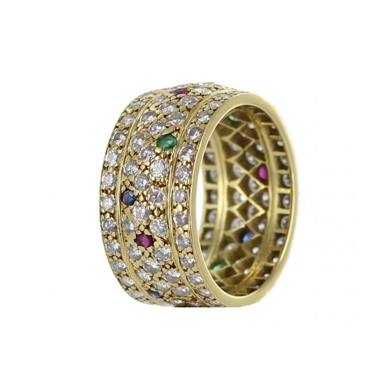 Connu Bague bandeau or jaune sertie de pierres précieuses d'occasion PZ63