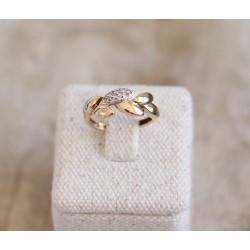 Bague feuille en Or jaune avec diamants