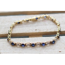 Bracelet or jaune Diamants et Saphirs