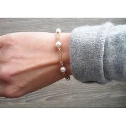 Barcelet or jaune et perles de cultures