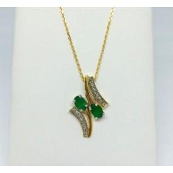 Chaine + pendentif Emeraude et diamants