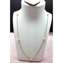 Collier or jaune et perles