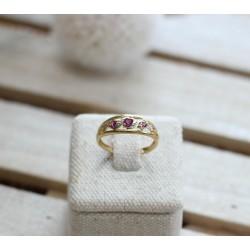 Bague or Jaune pierre rouge