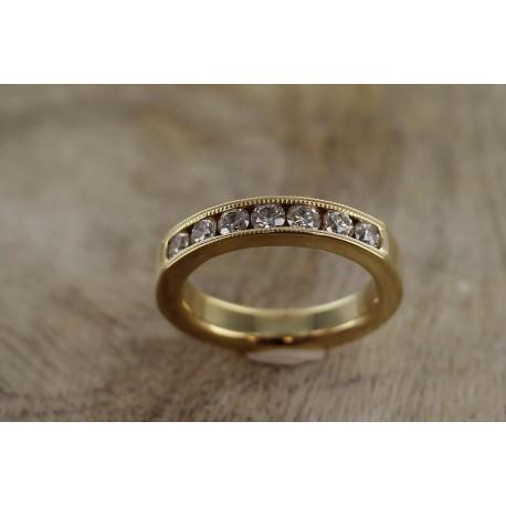 Alliance or jaune demi tour diamants