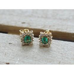Boucles d'oreille Diamants et Emeraudes