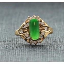 Bague en Or jaune avec Jade et Diamants