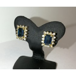 Boucles d'oreille diamants et Saphirs