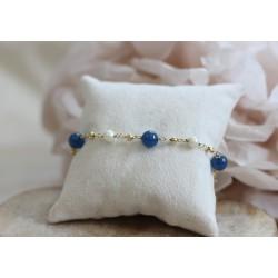Bracelet en or jaune avec perles