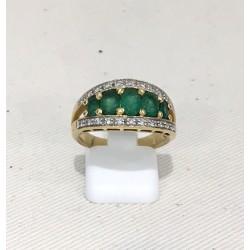 Bague or jaune diamants et Emeraude
