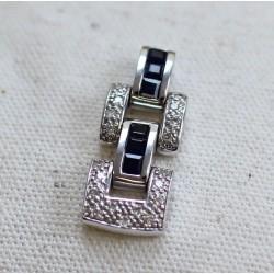 Pendentif Guy Laroche or blanc diamants et Saphir