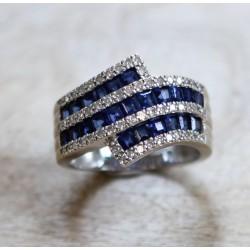 Bague en or blanc Saphirs et diamants
