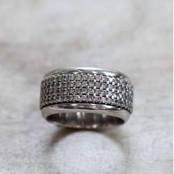 Bague anneau tournant or blanc et diamants