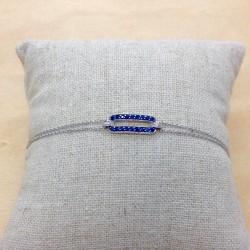 Bracelet or blanc diamants et pierres bleues