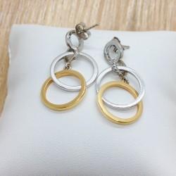 Boucles d'oreille 2 ors et diamants