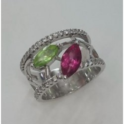 Bague bandeau en Or blanc Tourmaline, Perdiot et Diamants