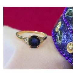 Bague Or jaune Avec Saphir et Diamants