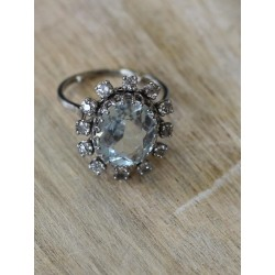 Bague Fleur en Or blanc Aigue Mairne et Diamants