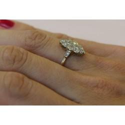 Bague marquise 2 ors avec diamants