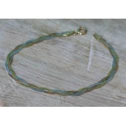 Bracelet tresse 3 ors Maille plate