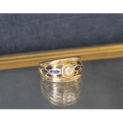 Bague en or jaune 18k avec Saphir et Diamants